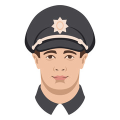 policeman face vector illustration flat style front