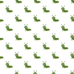 Caterpillar pattern seamless repeat in cartoon style vector illustration
