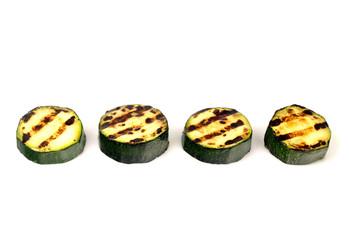 green zucchini grilled on white background for isolation