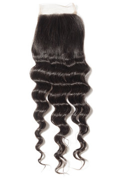 Loose deep wave curly black human hair weaves extensions lace closure