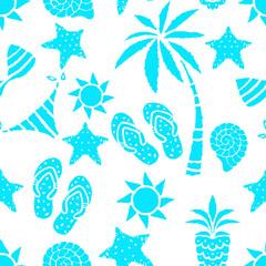 Seamless pattern with sun, palm tree, pineapple, flip flop sandals, sea shell, bikini, swimsuits, starfish