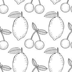 Lemons and cherries. Black and white illustration for coloring book. Fruits, healthy dessert and food.