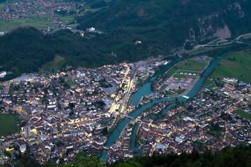 Interlaken town view at night