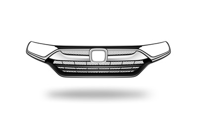 Vector illustration of The grille of car on white background. This part is front of the car body.
