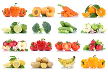 Früchte Obst und Gemüse Sammlung Apfel Tomaten Orange Bananen Erdbeeren Farben frische...