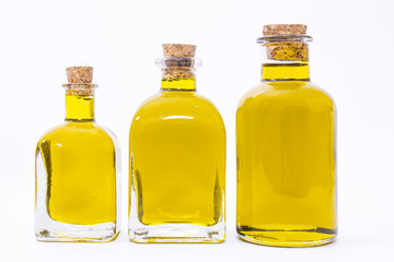 bottles of extra virgin olive oil isolated