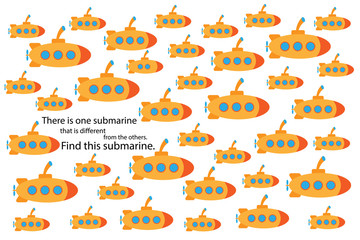 Find submarine that different, fun education puzzle game with transport for children, preschool worksheet activity for kids, task for the development of logical thinking and mind, vector illustration