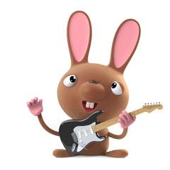 Vector 3d Cute cartoon Easter bunny rabbit plays electric guitar