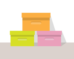 Clothing Store Boxes Set Vector Illustration