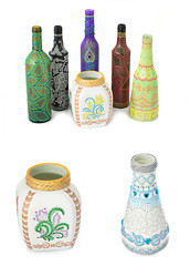 many different bottles, painted dot painted on isolated background.