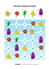 Picture sudoku puzzle 5x5 (one block) with vegetables - potato, tomato, cucumber, onion, eggplant. Answer included.