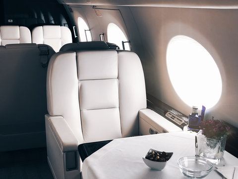 Interior of a private luxury jet