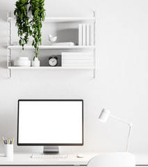 Simple white home office, white screen close up