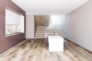Brown and white kitchen interior, stairs