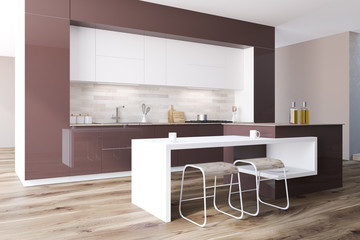 Brown and white modern kitchen interior