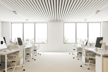 White and wooden open plan office side view