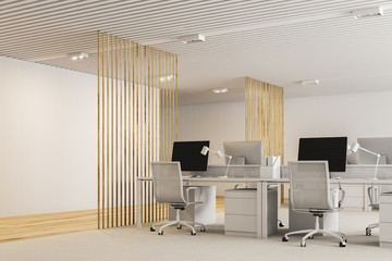 White and wooden modern open plan office
