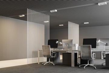 White and gray modern open plan office