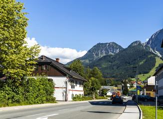 Road in Alps village