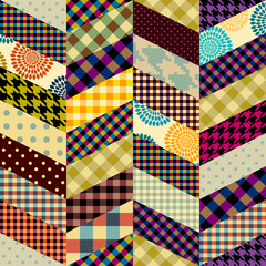 Seamless background pattern. Patchwork pattern in chevron style.. Vector image Vector image.