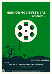 Retro style horror movie poster. Green background and black trees and graveyard. Film festival poster. Big movie theater reel and text placeholder. Template for movie banner or poster in retro colors.