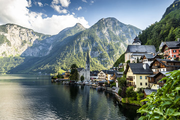 Hallstatt village and Hallstatter See mountain lake in Austria