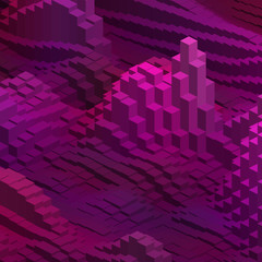 Abstract vector cubes. Vector illustration. Pink, purple colors.