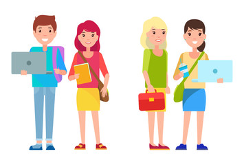 Students Boy and Girls Cartoon Style Smile Woman