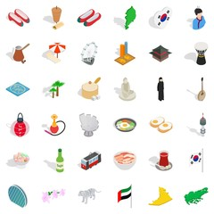 Asian country icons set. Isometric style of 36 asian country vector icons for web isolated on white background