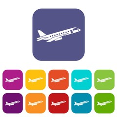 Airplane taking off icons set vector illustration in flat style in colors red, blue, green, and other