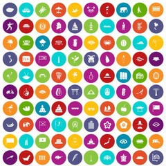 100 asian icons set in different colors circle isolated vector illustration
