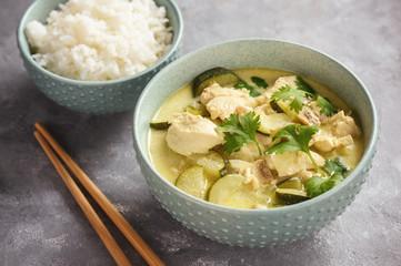 Green chicken curry with jasmine rice.