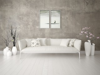 Mock up a stylish living room with a light trendy sofa and hipster background.