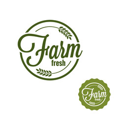 Farm fresh logo. Farm produce stamp set on white background