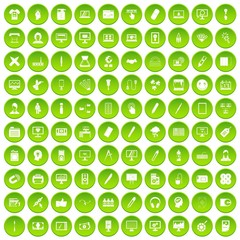 100 webdesign icons set in green circle isolated on white vectr illustration
