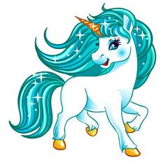 Fantasy white unicorn with blue hair.