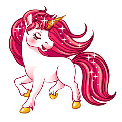 Little fantasy white unicorn with pink hair.