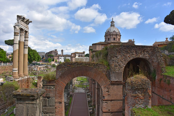 Rome,  view and details of the archaeological area of the Roman Forums