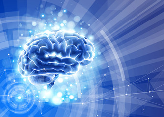 Human brain on a blue technological background surrounded by information fields, neural networks, Internet webs - the concept of modern technology, biotechnology, artificial intelligence / vector draw