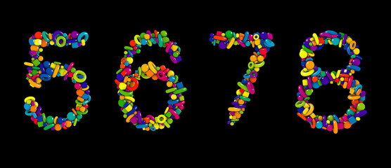 Kids toys colorful 3D font isolated on black background. Multicolored numbers set made of funny geometric shapes. Numbers 5, 6, 7, 8.