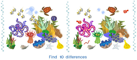 Find ten differences. Game for children with ecosystem of coral reef with different marine inhabitants