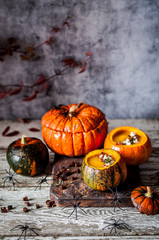 Halloween Cream Soup in Hollowed Pumpkins