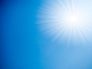 blue sky with sunray background