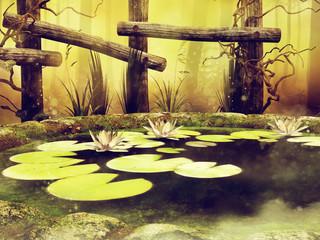 Wall Mural - Staw z pływającymi liśćmi i kwiatami