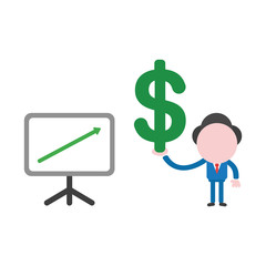 Vector businessman character with sales chart arrow moving up and holding dollar symbol