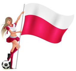 Polish woman fan holding Poland flag. Football team support