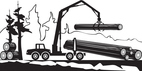 Tractor loading wood timbers in the forest - vector illustration