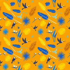 Tropical flowers, jungle palm leaves, paradise tropical humming birds and toucans. Beautiful seamless vector floral pattern background, exotic print. Flat style Hygge design: yellow, white, blue