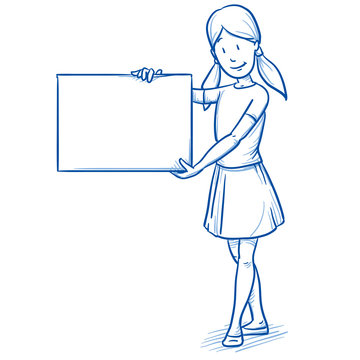 Happy young girl holding a billboard. Hand drawn cartoon doodle vector illustration.