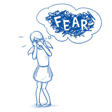 Young girl covering her eyes with fear. Hand drawn cartoon doodle vector illustration.